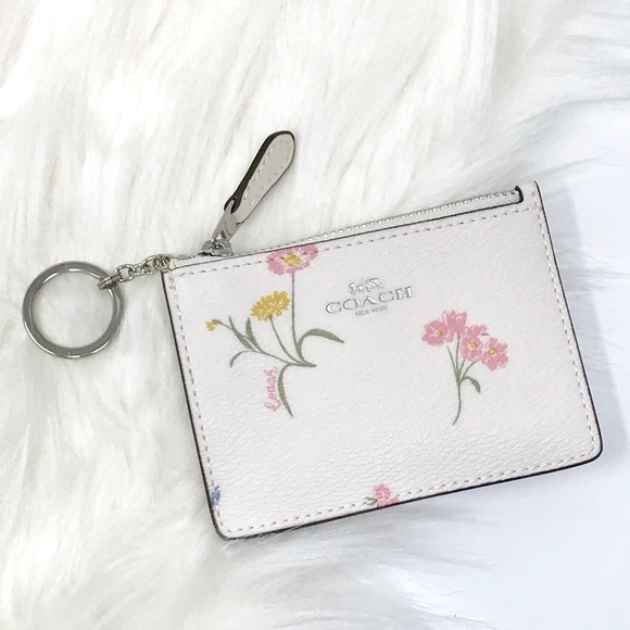 NEW COACH Coin Purse ID MINI SKINNY Key Chain Chalk w//Flowers F73355